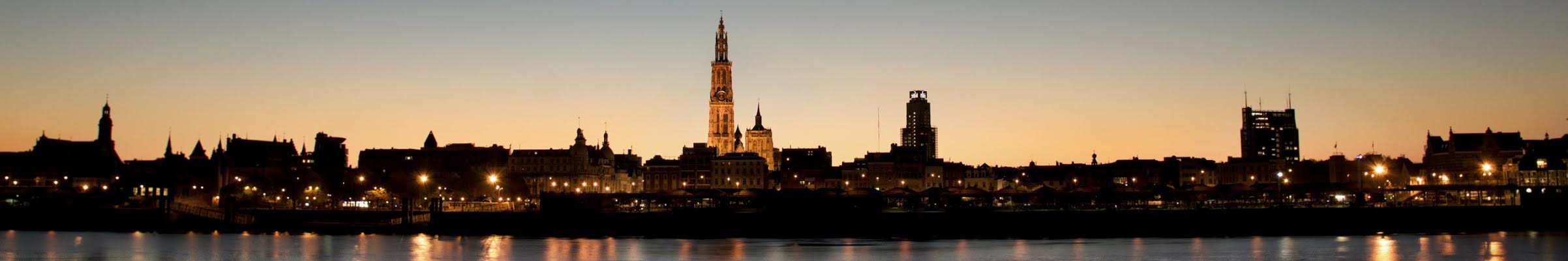 Antwerp Skyline by Night - Panorama - Peace in the City